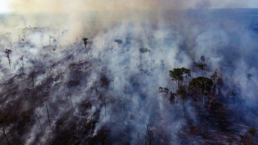 圖為8月23日,巴西馬托格羅索州(Mato Grosso)原住民領地的雨林空拍圖...