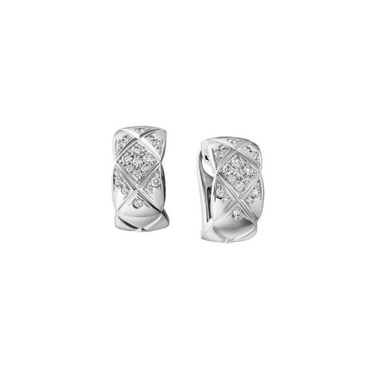 Chanel,Coco Crush耳環:18K白金鑲嵌34顆明亮式切割鑽石。價格...