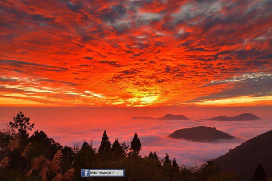 嘉義縣昨天傍晚出現火燒雲景象,吸引許多民眾拍照上網分享,「漫步在雲端的阿里山」版主黃源明也貼文分享難得一見的雲海火燒雲景象。圖/黃源明提供