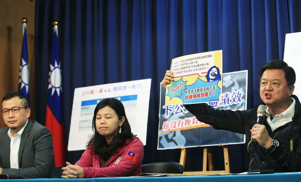 國民黨日前出示公文證明警政署下績效公文要求全國警察單位查假,怒批台灣已經變成「查...