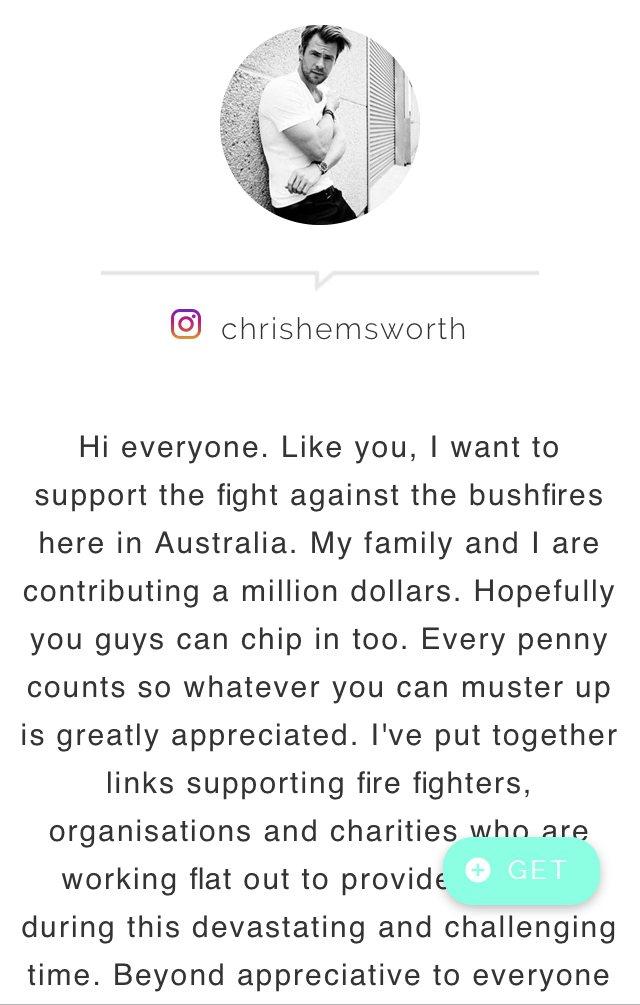 在instagram的專頁中,「雷神」克里斯漢斯沃也真情喊話,並宣佈即刻捐出善款...