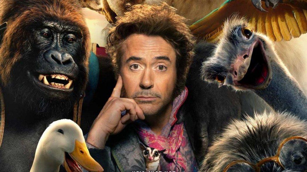 小勞勃道尼在「杜立德」與眾多動物攜手,挑戰幽默搞笑新風格。圖/UIP提供