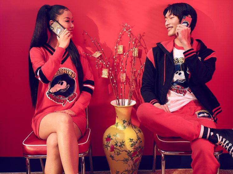Mia Kong與超模祁俊凱展演農曆新年Mickey Rat限量膠囊系列。圖/M...
