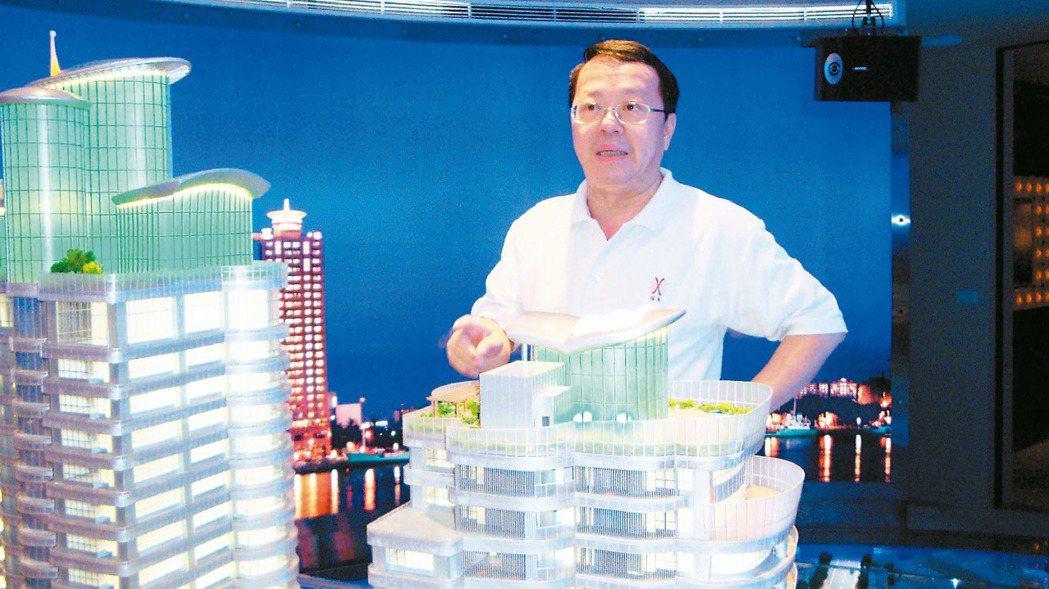 2010年,侯西峰介紹高雄豪宅「國硯」模型。 報系資料照