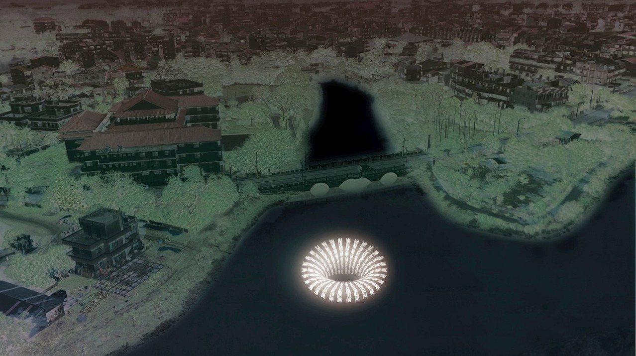 作品:「運用幻象-洞」。圖/取自 月津港燈節FB粉絲團