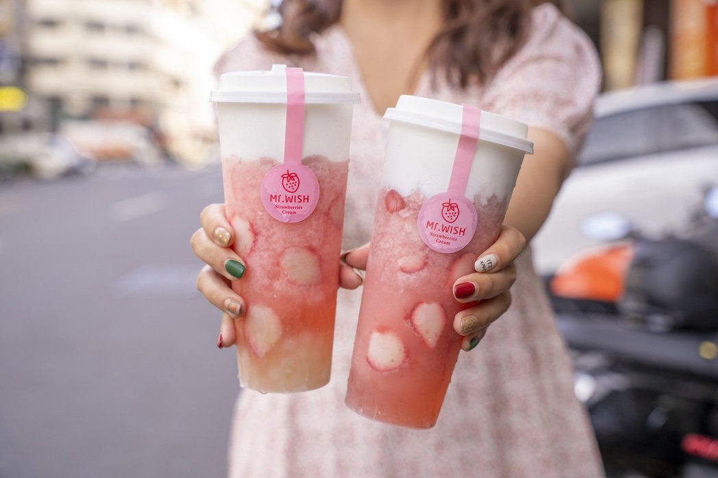 「仙女必喝」夢幻系飲品:「草莓芝芝」、「草莓芝芝白珍珠」。 Mr. Wish /...