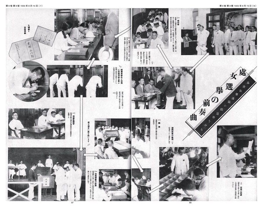 《臺日畫報》第6卷第12號亦利用模擬選舉當天的實景照片,詳細介紹投開票流程。