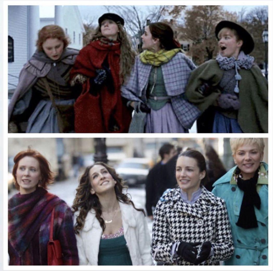 「她們」(上)與「慾望城市」劇照對比,竟然頗為神似。圖/摘自Instagram