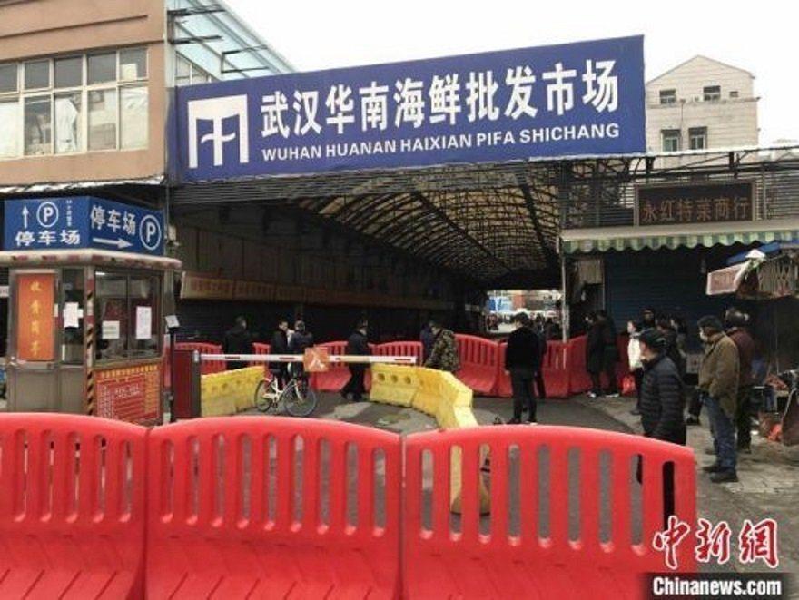 武漢爆發不明原因肺炎疫情的華南海鮮市場。(取自中新社)
