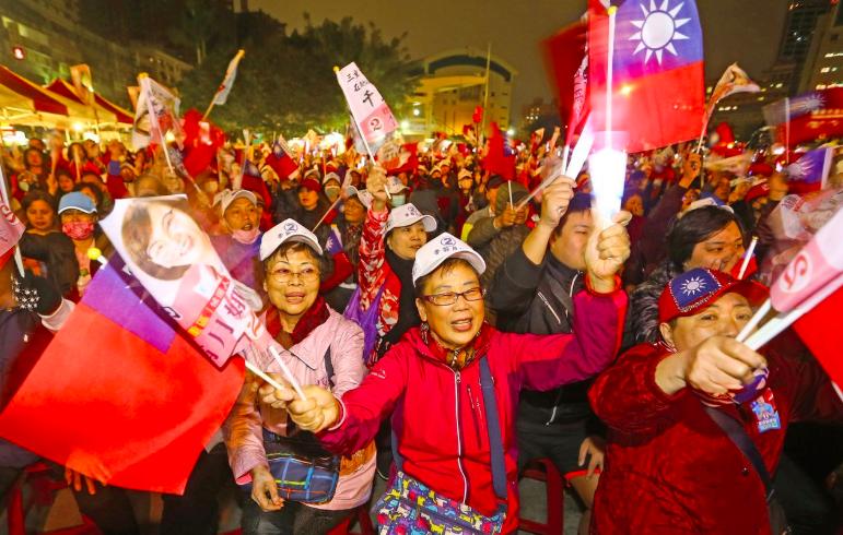 國民黨總統候選人韓國瑜今晚凱道催票,圖為國民黨昨晚新北造勢晚會。記者杜建重/攝影
