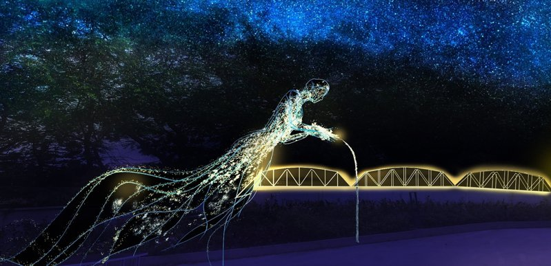 2020台灣燈會在后里花花步道建置「漫遊客家庄燈區」,其中豐原「飲水思源」意象燈區創作示意圖。圖/台中市政府提供