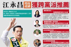 江永昌推新文宣 強調「跨黨派支持」才吸睛