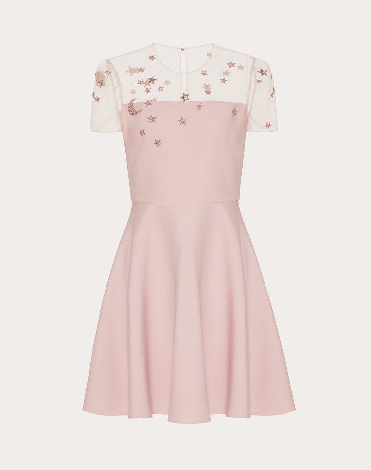 薄紗拼接A字剪裁洋裝,14萬6,000元。圖/Valentino提供