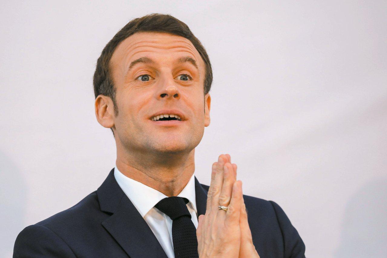 法國總統馬克宏推動的年改,遭遇強烈反彈。 (法新社)