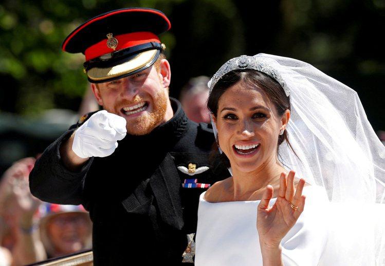 哈利和梅根2018年5月舉行婚禮,全英國喜氣洋洋。(路透)