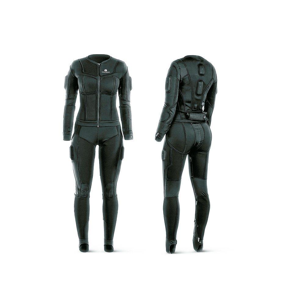 VR Electronics推出的觸覺身體套裝Teslasuit。 紅點/提供