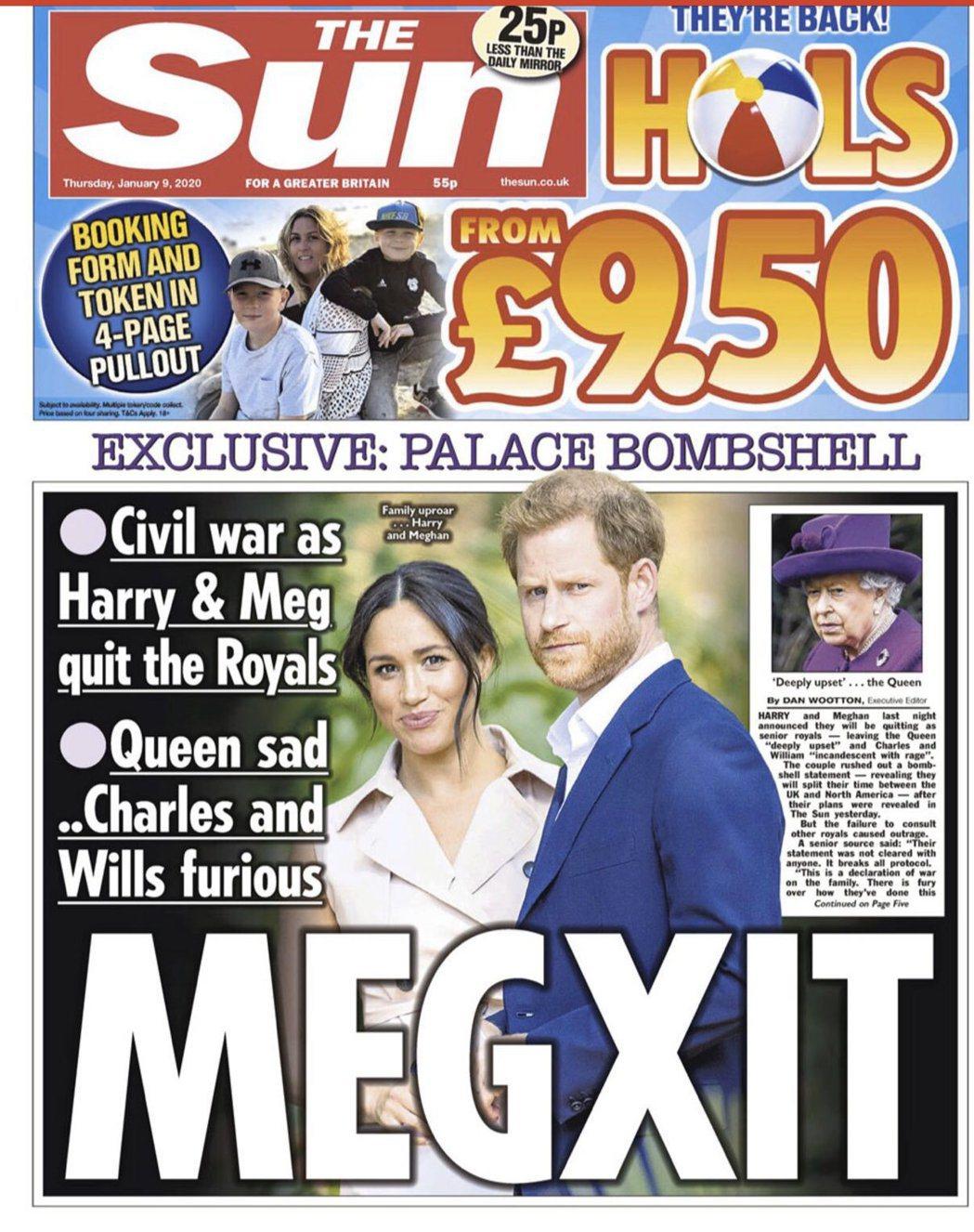 英國媒體打出大大的「Megxit」,作為哈利、梅根主動宣告要卸下皇室重要成員身分...