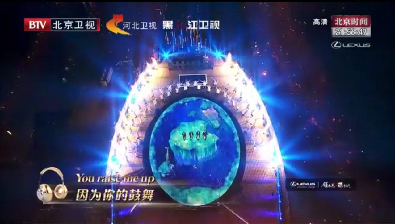 北京衛視跨年舞台。圖/擷自微博