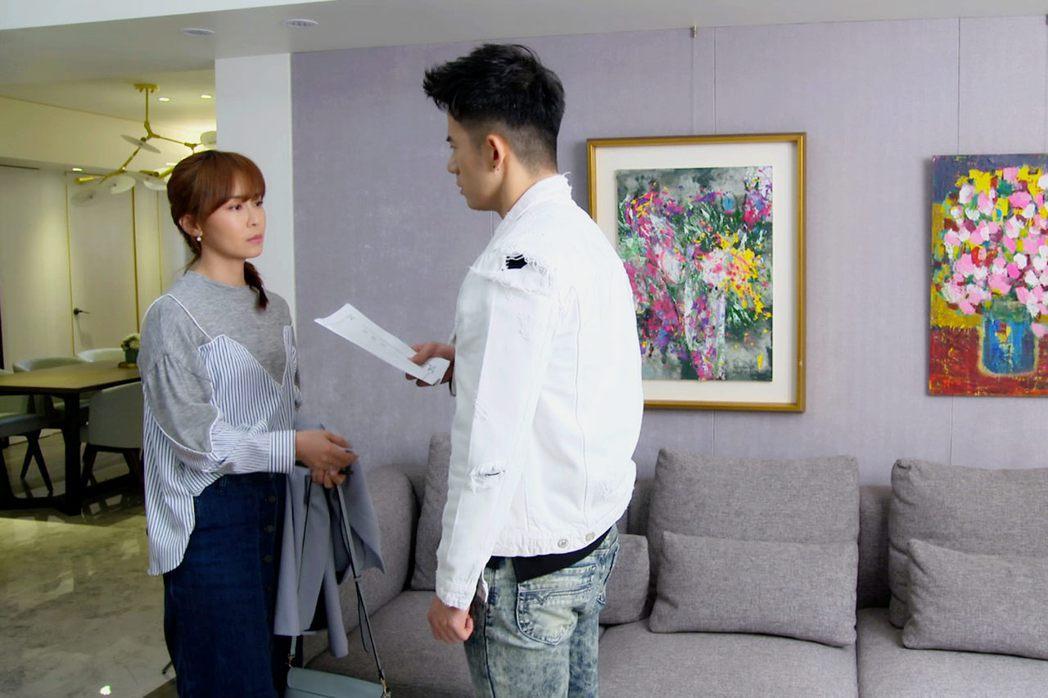 林昀希(左)、JR紀言愷在「美味滿閣」 戲中談離婚。圖/東森提供