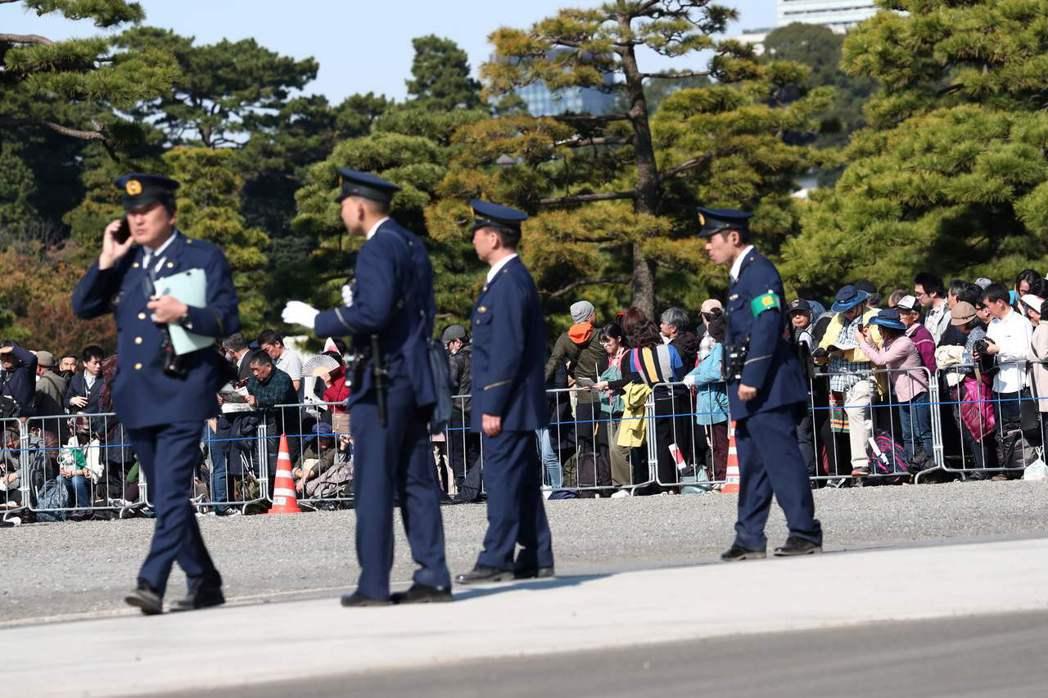 日本警察執行勤務示意圖,非當事者。法新社