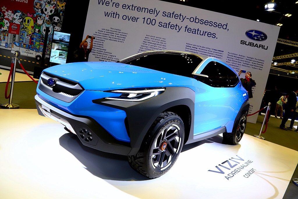 Subaru展出2019年瑞士日內瓦車展發表的VIZIV Adrenaline ...
