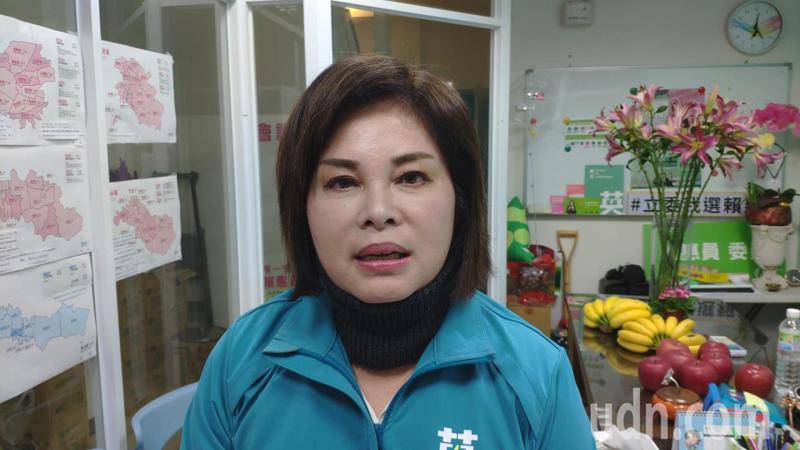 民進黨台南立委第一選區候選人賴惠員發表當選感言。記者謝進盛/攝影