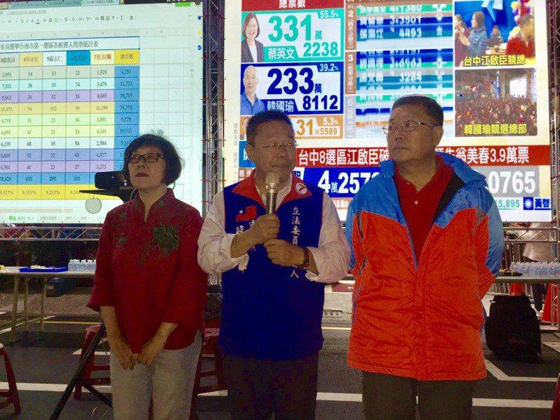 得票不如預期,台南市第一選區立委選舉結果出爐,國民黨徵召的市議員蔡育輝得票不如預期,接受敗選。圖/蔡育輝服務處提供