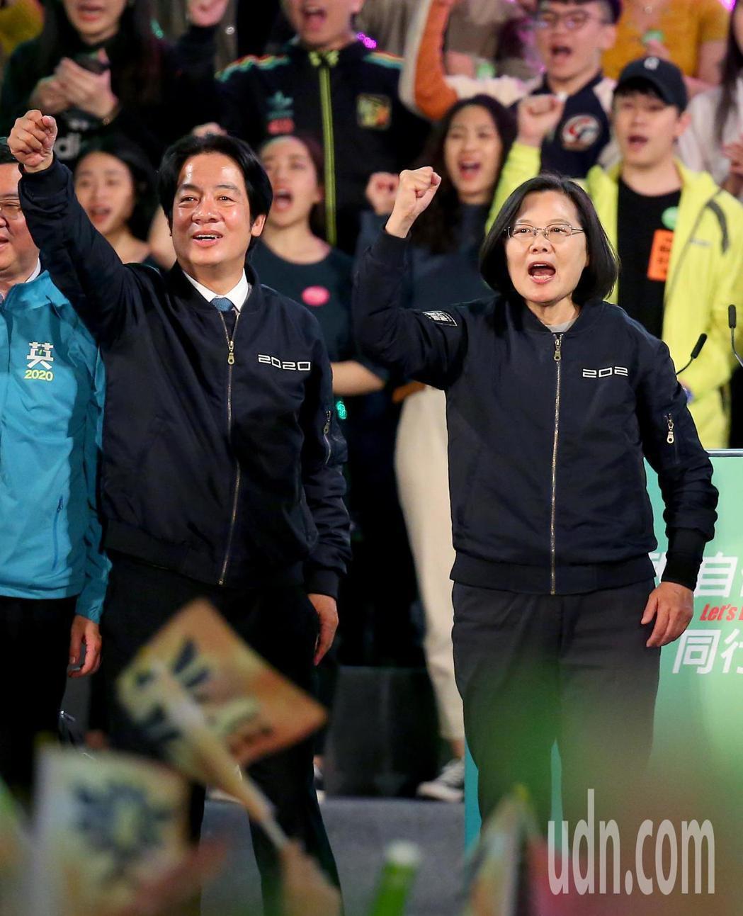 民進黨總統候選人蔡英文(右)、副總統候選人賴清德(左)在台南開出最高得票率。圖/...
