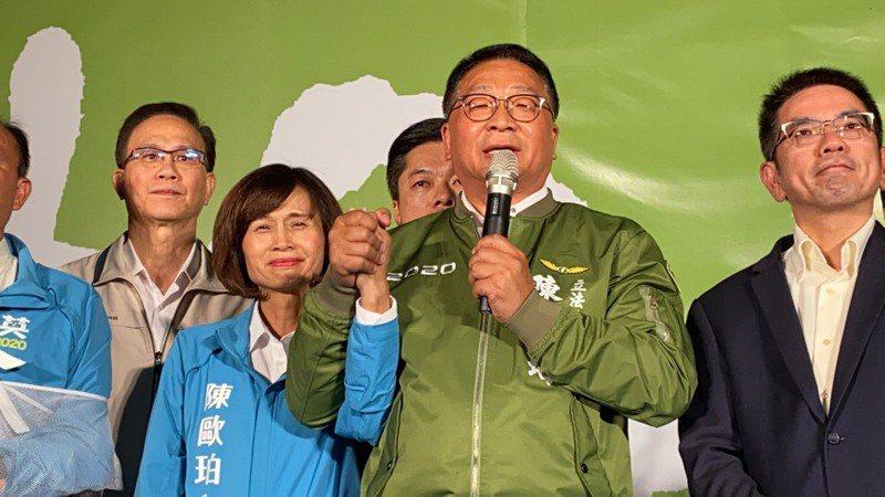 民進黨在宜蘭的總統及立委選舉贏得漂亮,投票率衝高近七成四,立委當選人陳歐珀感謝選民支持。記者羅建旺/攝影