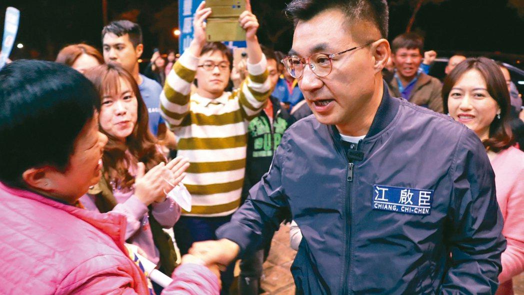 國民黨立委江啟臣(右)連任成功。 圖/江啟臣服務處提供