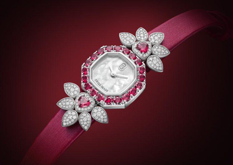 海瑞溫斯頓Precious Valentine's Day高級珠寶表,鉑金表殼搭...