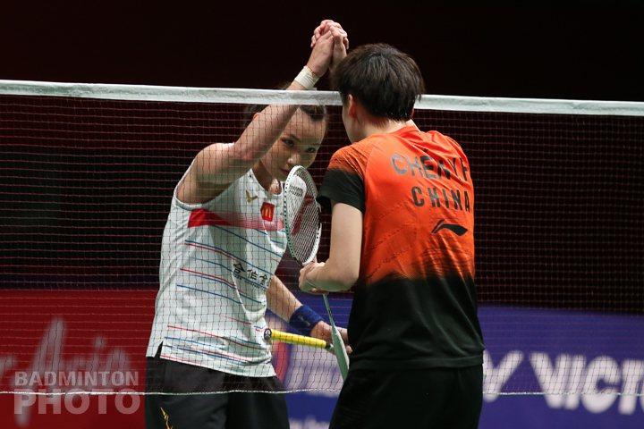 戴資穎(左)在馬來西亞名人賽不敵大陸「世界球后」陳雨菲居亞。圖/Badminton Photo提供