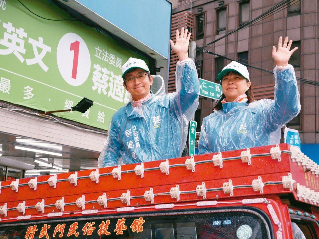 基隆立委蔡適應(左)連任成功,昨天和妻子蔡喬婷車隊謝票。 記者吳淑君/攝影