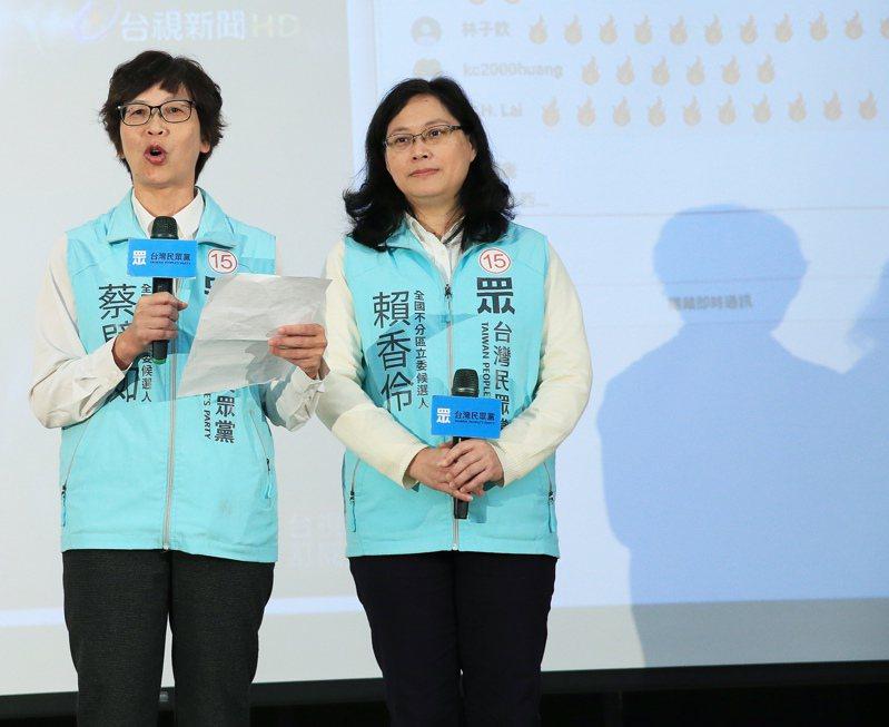 北市府勞動局長賴香伶(右)、北市府前顧問蔡壁如(左)都順利進軍國會。記者潘俊宏/攝影