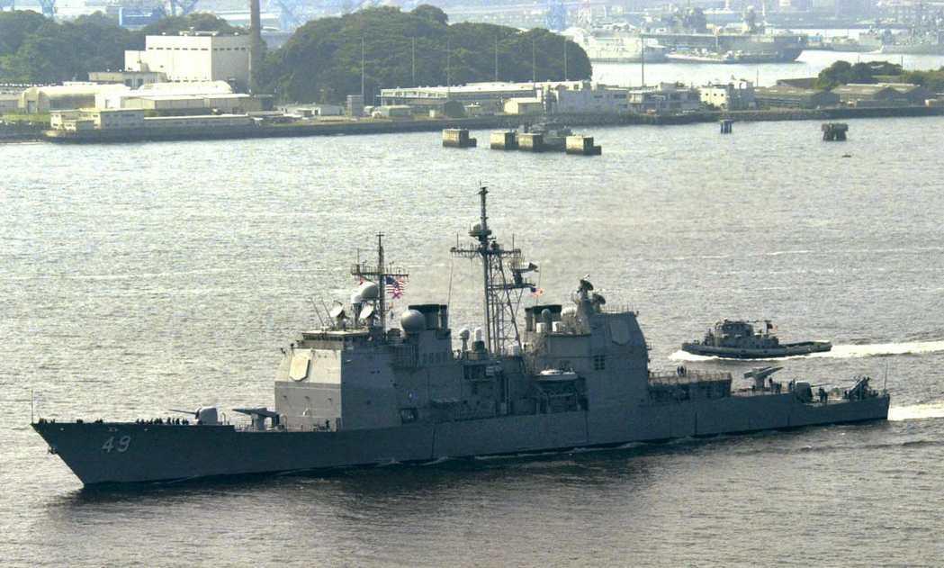 曾在波斯灣誤擊伊朗民航機的美國「文森斯號」飛彈巡洋艦。 (路透)