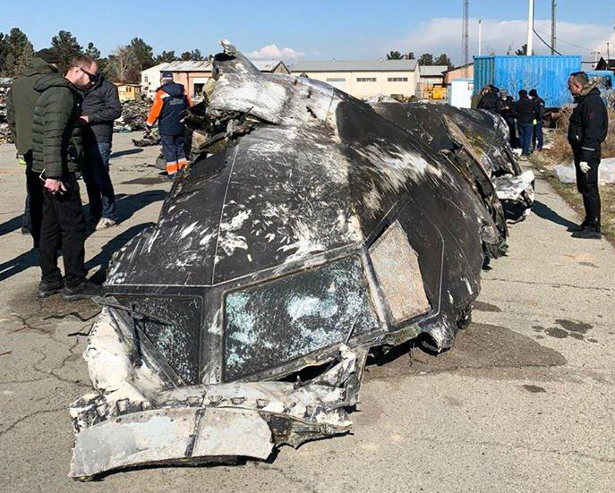 伊朗當局11日承認,軍方8日誤擊烏克蘭國際航空波音737-800客機。圖為該機殘...