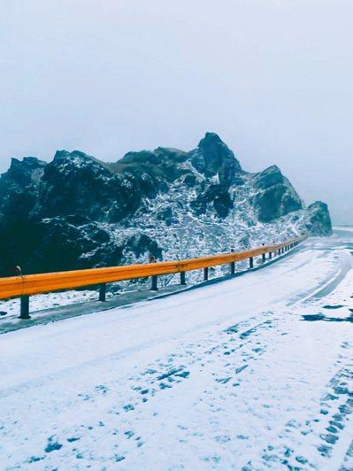 合歡山今凌晨接連降下雪霰,武嶺、小風口等地雪白一片,猶如披上白紗,雪迷為之瘋狂,開心直播雪況。 圖/臉書「合歡山玩雪團」范宏明提供