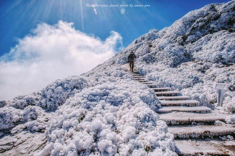 2019年二月拍下的合歡山東峰雪景十分壯觀。圖/ IG<a href=