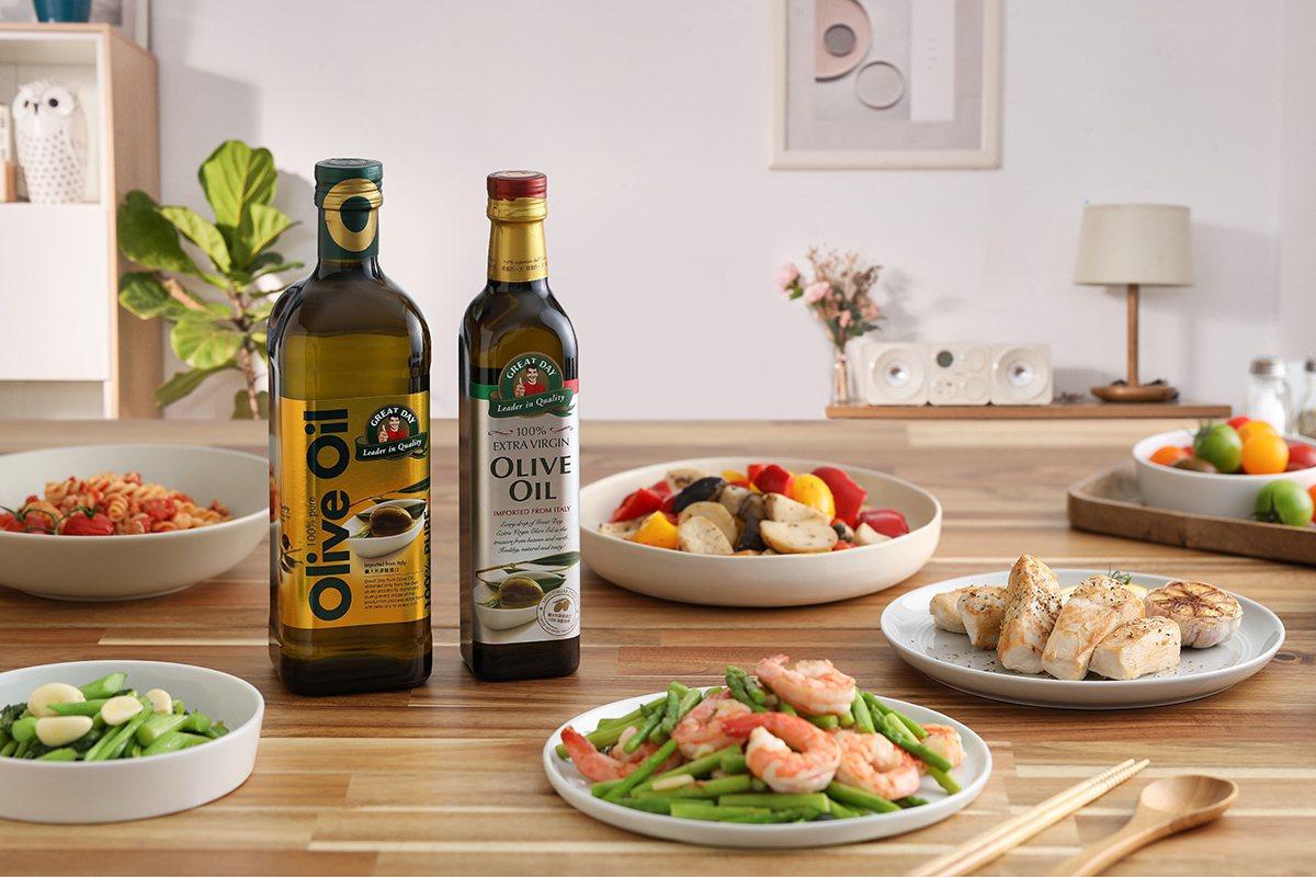 「得意的一天」義大利原裝進口橄欖油,品質優、更安心。 圖/「得意的一天」 提供