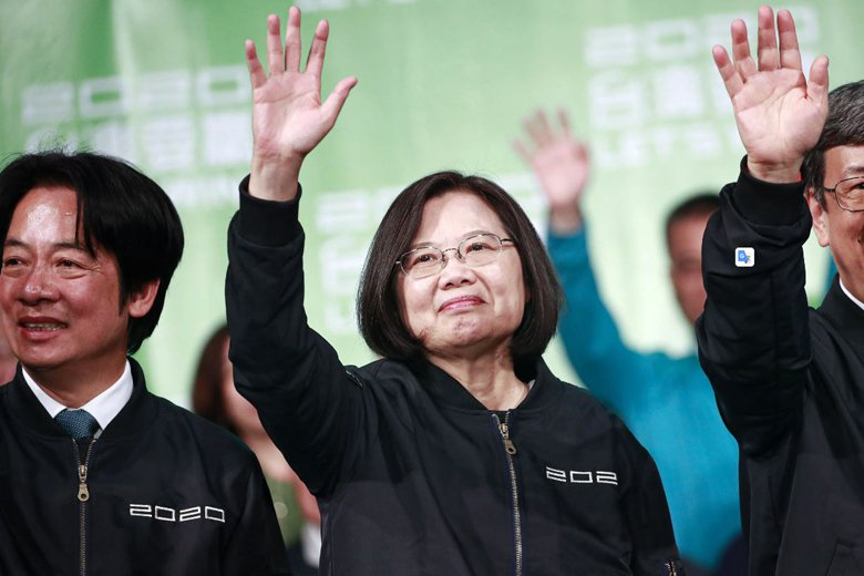 2020大選也被視為台灣「親美 vs. 親中」的對決,最終以親美的蔡英文勝出。 圖/歐新社