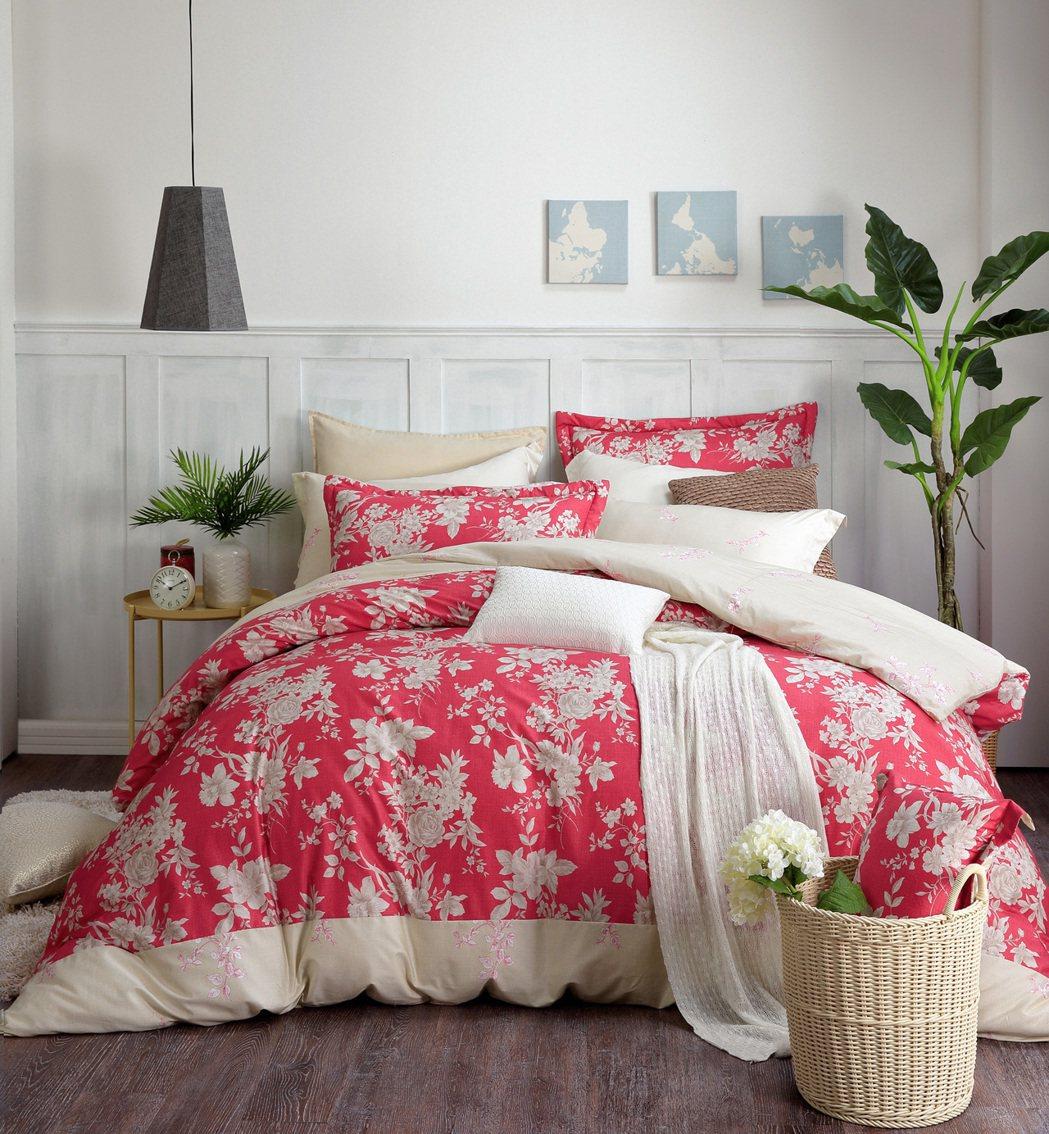 法國品牌MONTAGUT夢特嬌「絳色交響曲」床組系列,選擇代表東方的沉穩紅色系,...