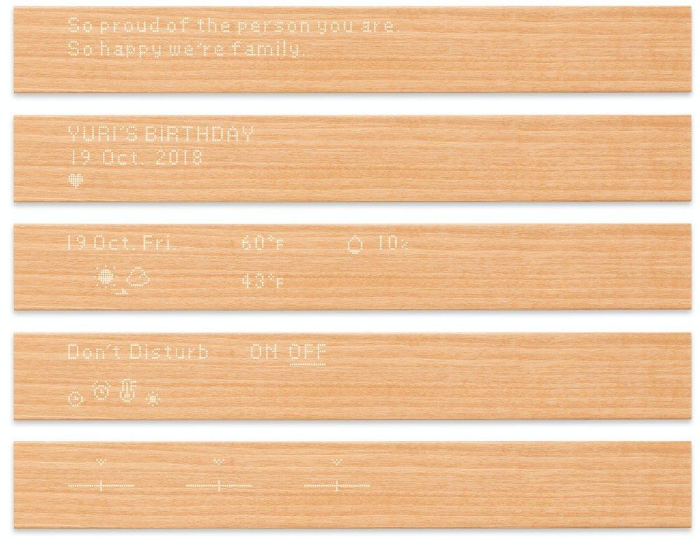 「mui」的功能包含顯示家人留言、行事曆事項、當前日期、天氣、室內溫度等資訊,另...