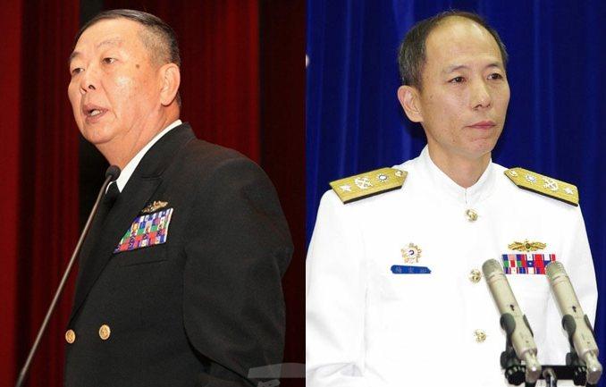 據證實,不論按軍中倫理或受國安高層肯定程度,海軍司令黃曙光(左)出任參謀總長呼聲...