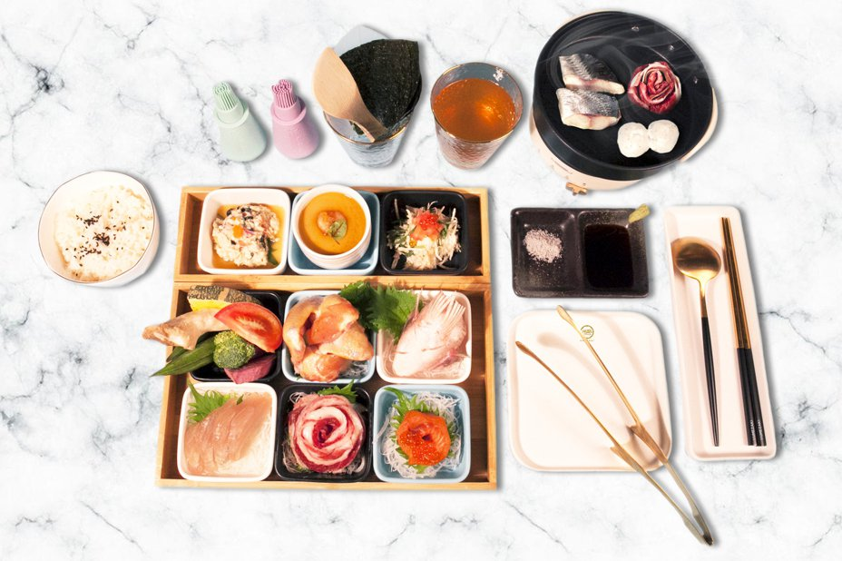 梅崎燒壽司幸福套餐。圖/肯信餐飲集團提供