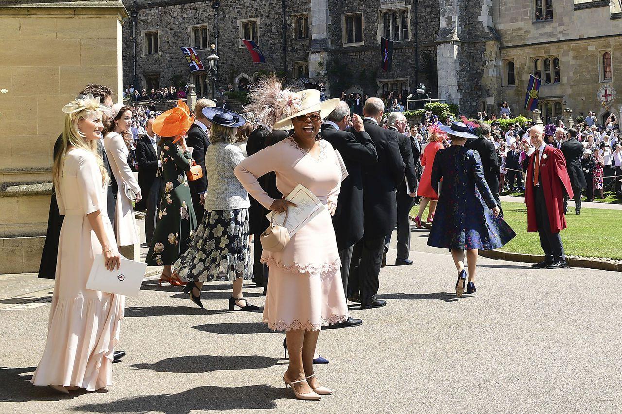 前年5月哈利與梅根大婚時,歐普拉獲邀出席參加兩人婚禮。(美聯社)