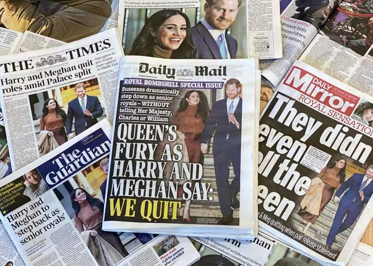 哈利王子與妻子梅根宣布淡出王室,9日登上英國各報頭版。(法新社)