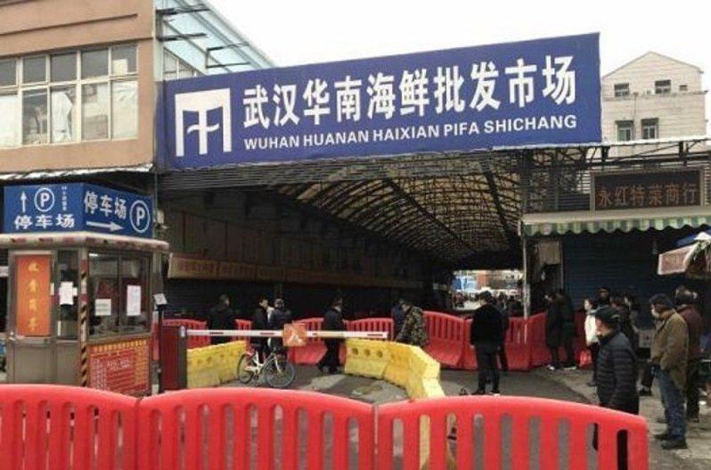 中國武漢爆發不明原因肺炎,WHO表示,多數病例在武漢市華南海鮮市場工作,或經常前往該市場。 (中新社)