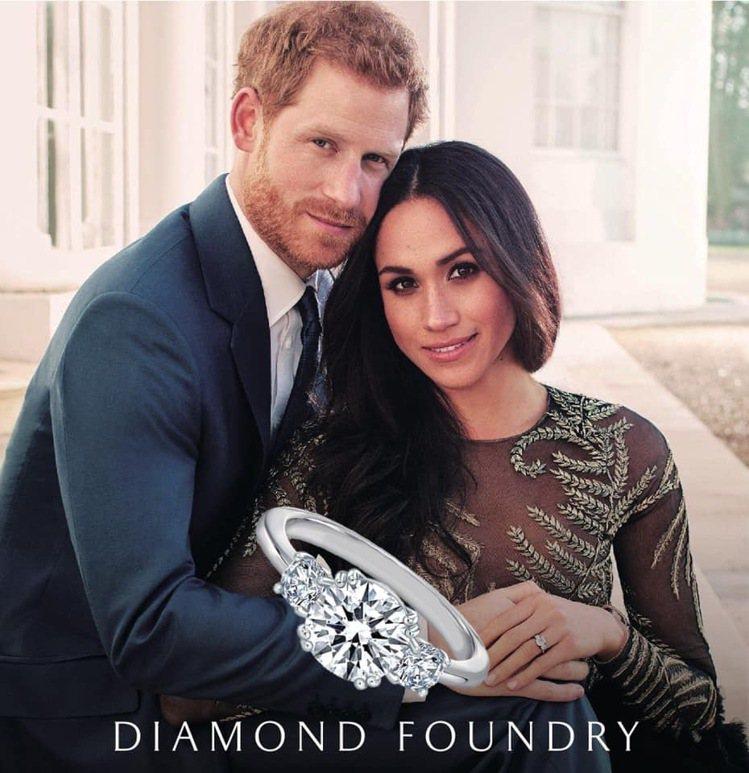 ▲英國梅根王妃個人訂製款婚戒就是選擇Diamond Foundry的鑽石。 圖/...