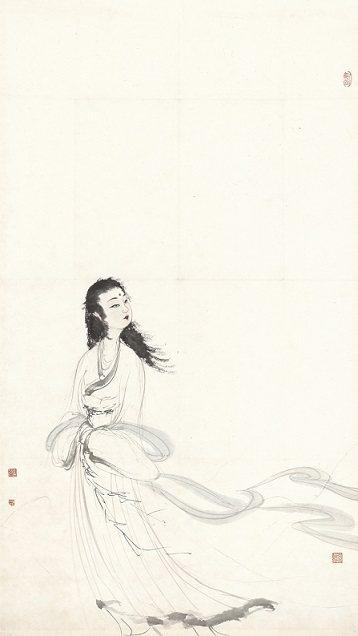 傅抱石_《屈原九歌山鬼圖》,彩墨、紙本1963。 墨海樓/提供