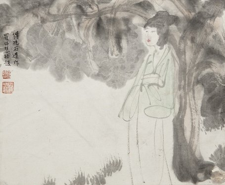 傅抱石《蕉蔭美人》,彩墨、紙本 ,約1962-1963年。 墨海樓/提供